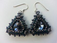 Rivoli Triangle Earrings Available in my Etsy shop