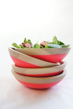"Dipped wooden bowl- 7"" in Neon Pink by Wind and Willow – Forage Modern Workshop"
