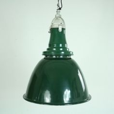 Large Vintage Green Enamel Bell Pendant Light