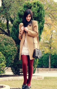 burgundy tights and an off-white dress.. lovely