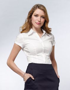 Short Sleeve Classic Shirt from Pepperberry, a company specializing in clothing for women with large busts.