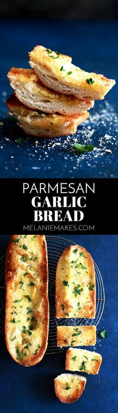 This six ingredientParmesan Garlic Bread is ready to become a mainstay in your kitchen. A loaf of French bread from your grocery store's bakery is halved and then topped with a mixture of olive oil, butter, garlic and grated Parmesan cheese and then showered with chopped fresh parsley.