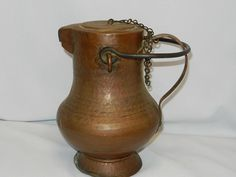 Antique Copper Tin Lined - Water Pitcher- Ewer- Kettle