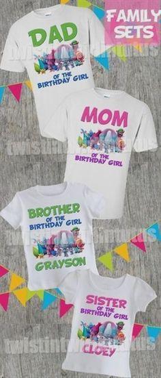 Trolls Birthday Shirt Family Set - Birthday Shirts - Ideas of Birthday Shirts - Trolls Family Shirt Set Trolls Birthday Party, Troll Party, Unicorn Birthday Parties, Birthday Party Themes, Girl Birthday, Birthday Ideas, Unicorn Party, Birthday Gifts, Birthday Stuff
