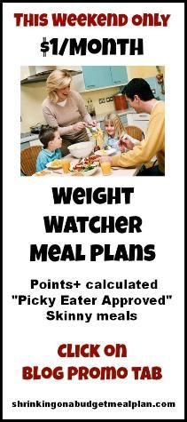 Shrinking On A Budget Weight Watchers Meal Plans: All your Weight Watchers meals planned out - with PointsPlus and nutritional information! Picky Eater approved and budget friendly. Click on Pinterest/Blog Promo on Navigation Bar: shrinkingonabudgetmealplan.com/