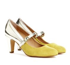 Silver and Yellow Mary Jane Heels.