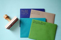 Custom calligraphy return address stamp / Paper Pastries: Confections for your Correspondence