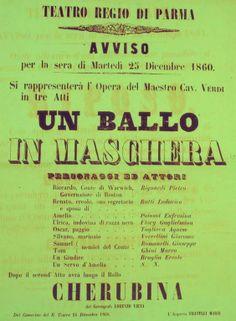 Rara locandina di Un Ballo in Maschera, edizione del Natale 1860 al Teatro Regio di Parma (Archivio Casa della Musica)