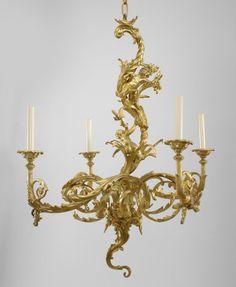 French Louis XV lighting chandelier bronze