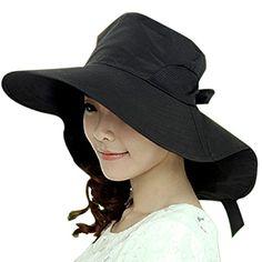 9c667a17e60 Malloom Wide Brim Women Bow Hat Foldable Sun Floppy Self-tie Summer Beach  Cap Caps
