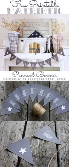 "Free Printable Patriotic ""Freedom"" Banner - Chalkboard Pennant - Rustic, vintage inspired Fourth of July Decor 