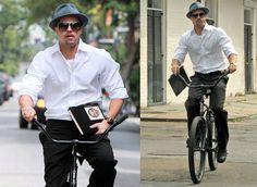 Brad Pitt riding a bike