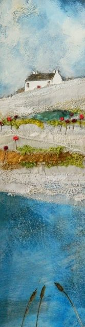 Flow in Blues von Hannie Goldgewicht (Mixed-Media Wall Sculpture) Art Textile, Textile Artists, Textiles, Landscape Art Quilts, Fabric Postcards, Contemporary Embroidery, House Quilts, Thread Painting, Small Art