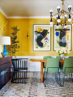 Plancolorss Idea for Dining Room Walls 18 Best Dining Room Paint Colors Modern Color Schemes for Yellow Dining Room, Dining Room Paint Colors, Dining Room Walls, Dining Room Design, Dining Chairs, Yellow Walls Living Room, Kitchen Yellow, Dining Furniture, Living Rooms
