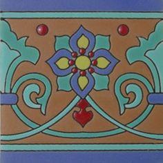 Mexican Ceramic Tile Malibu Border Cuerda Seca hrb-9