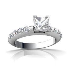 White Topaz Engagement 14K White Gold Ring R26335SQ - front view