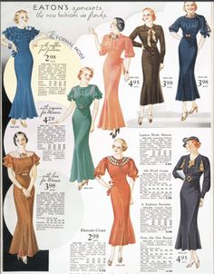 1934 1935 Womens Fashion for Fall and Winter Eatons Catalogue Dresses 1930s style. View more 1930s fashions at www.vintageinn.ca #1930s #1930sfashion #vintageblog #vintageillustration #30sdress #30sstyle #vintageadvertising