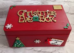 Personalised Christmas Eve Box in Home, Furniture & DIY, Celebrations & Occasions, Christmas Decorations & Trees Wooden Christmas Eve Box, Personalised Christmas Eve Box, Homemade Christmas, Diy Christmas Gifts, Kids Christmas, Christmas Decorations, Christmas Eve Box Ideas Kids, Christmas Craft Fair, Christmas Boxes