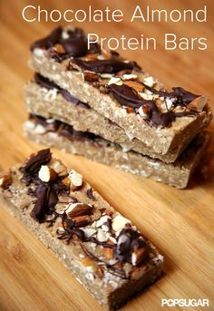 Chocolate Almond Protein Bars: perfect pre or post workout, but your tastebuds will think it's dessert (vegan).