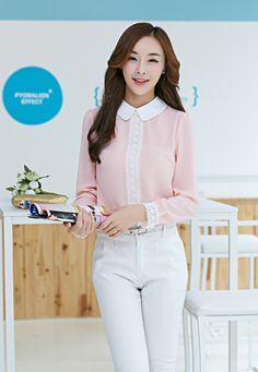 Korean Style 2015 New summer Blouses summer style party Blouses Casual full chiffon bitton turn down collar women shirts 2 color White Chiffon Blouse, Chiffon Shirt, Peter Pan Collar Blouse, Summer Blouses, Party Fashion, Blouses For Women, Korean Fashion, Ideias Fashion, Chic