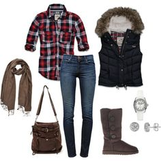 Comfy yet stylish by sandreamarie on Polyvore featuring Hollister Co., J Brand, UGG Australia, Lord & Taylor, PASHMINA ART and Roxy