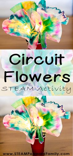Circuit Flowers STEAM Activity - Circuit Science For Kids - - Introducing Circuit Flowers! Explore chromatography, diffusion, engineering and circuit building with this beautiful STEAM activity. Mother's Day Activities, Steam Activities, Spring Activities, Spring Art Projects, Stem Projects, Stem For Kids, Science For Kids, In Kindergarten, Learn Art
