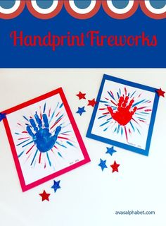 C is for Crafts: Handprint Fireworks Gather up the kids for this simple patriotic handprint art project. Makes a great of July craft! 4th July Crafts, Fourth Of July Crafts For Kids, Patriotic Crafts, Fireworks Craft For Kids, Fireworks Art, Craft Stick Crafts, Preschool Crafts, Kid Crafts, Craft Ideas