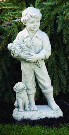 Boy With Roses U0026 Dog Garden Statue