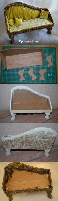 Diy dollhouse sofa from cardboard Miniature Crafts, Miniature Houses, Miniature Dolls, Barbie Furniture, Dollhouse Furniture, Miniature Furniture, Diy Dollhouse, Dollhouse Miniatures, Victorian Dollhouse