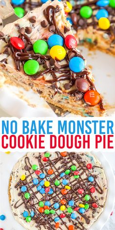 No Bake Monster Cookie Pie - This No Bake Monster Cookie Dough Cheesecake Pie has a buttery graham cracker crust and a peanut butter cheesecake filling that's loaded with M&M candies and mini chocolate chips. It's the perfect no bake pie to serve up this summer! #nobakedesserts #monstercookies #cookiedoughandovenmitt #dessertrecipes Monster Cookie Dough, Cookie Dough Cheesecake, Frozen Cheesecake, Cookie Pie, Chocolate Pie Recipes, Chocolate Pies, Mini Chocolate Chips, Peanut Butter Desserts, Peanut Butter Cheesecake