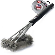 """Qually United - a Must Have 18\"""" Best BBQ Grill Brush 3 in 1, Durable and Effective, Barbecue Grill Brush Bristles are Made of Stainless Steel Woven Wire - a Perfect Gift for All Barbecue Lovers -- Click image for more details."""