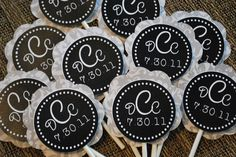 Bella Monogram Cupcake Topper Navy by TheSouthernSoiree on Etsy, $10.00