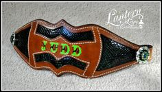 Bronc noseband/emerald green snake/lime green lettering and conchos