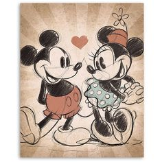 Mickey Mouse & Minnie Mouse Mickey & Minnie Vintage Love Canvas Print ($17) ❤ liked on Polyvore featuring home, home decor, wall art, comic book wall art, vintage home decor, canvas wall art, mickey mouse wall art and mickey mouse home decor