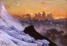 Gabriel Loppé - Sunset beyond the Montagne de la Cote seen from the Glacier des Bossons, Chamonix