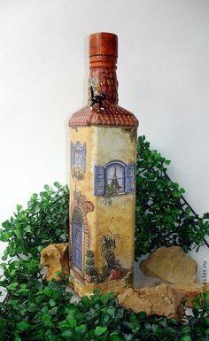 """Бутылка-светильник """"Дом, милый дом!"""" - бутылка,бутылка декоративная,светильник"""