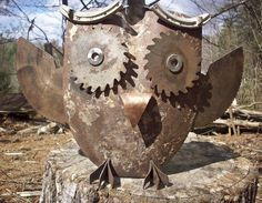 shovel body, saw blade eyes, dado blade talons, saw wings, washer and copper eyes, copper nose and horse shoe eyebrows