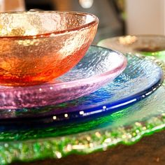 Recycled Glass Dinnerware by Fire and Light