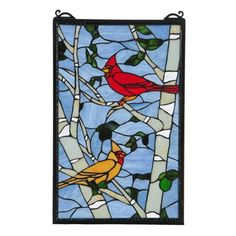 Meyda Tiffany 119436 Cardinal Morning Stained Glass Window  A stunning natural setting features brilliant American cardinals in bright red and light brown