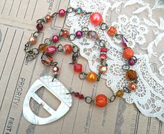 acorn necklace fall assemblage orange reds brown by lilyofthevally