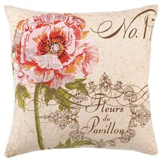 Embroidered cotton-blend pillow with a floral motif.    Product: Pillow    Construction Material: Cotton and flax  49.9678              ...