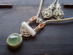 prehnite and fossil bamboo necklace
