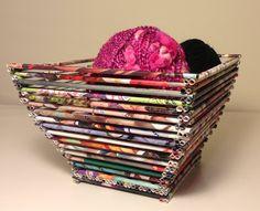 Canasta, hecha con papel de revistas - Magazine paper crafts