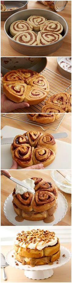 Double-Stacked Cinnamon Roll Cake #pillsbury #cinnamonroll #recipe