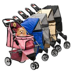 One+Hand+Folding+3+Wheel+Pet+Stroller+Carrier+Dog+Cat+&+Rain+Cover+CHOOSE+COLOR+#LuckyLola