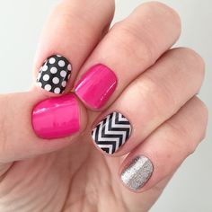 Jamberry Black and White Polka, Haute Pink, Black and White Chevron, and Diamond Dust Sparkle Jamberry Combos, Jamberry Nails, Gel Nails, Cute Nails, Pretty Nails, Pink Black Nails, Jamberry Consultant, Shattered Glass, Cute Nail Designs