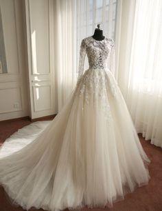 Real Samples Long Sleeves Muslim Wedding Dress,Lace Applique Flowers Wedding Dress ,Wedding Gown,A-line Crystal Wedding Dress,Bride Dresses