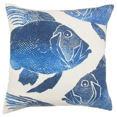 Add a stylish touch to your patio seating group or reading nook arm chair with this lovely pillow, featuring a cobalt fish print for visual appeal.
