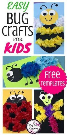 Easy Bug and Insect Crafts - Free - Key to Kinders - School ideas - I confess…Bugs and Insects are not my favorite theme to teach. BUT with these cute bug crafts add - Classroom Crafts, Preschool Crafts, Kids Crafts, Preschool Bug Theme, Ant Crafts, Insect Crafts, Dragonfly Crafts, Insect Activities, Craft Activities