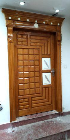 House Main Door Design, Flush Door Design, Wooden Front Door Design, Double Door Design, Wooden Front Doors, Door Design Interior, Diy Furniture, Furniture Design, Washbasin Design